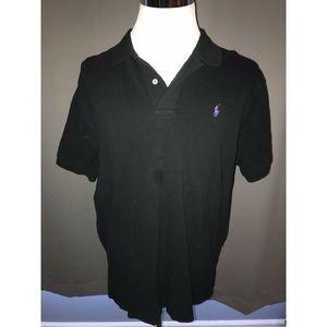 Polo Ralph Lauren Linen Shirt Black w/ Purple XL